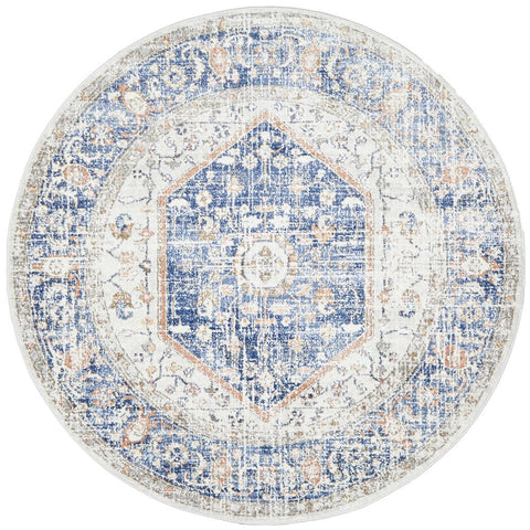Bergen 1433 Ocean Blue Peach Transitional Medallion Patterned Round Rug - Rugs Of Beauty - 1