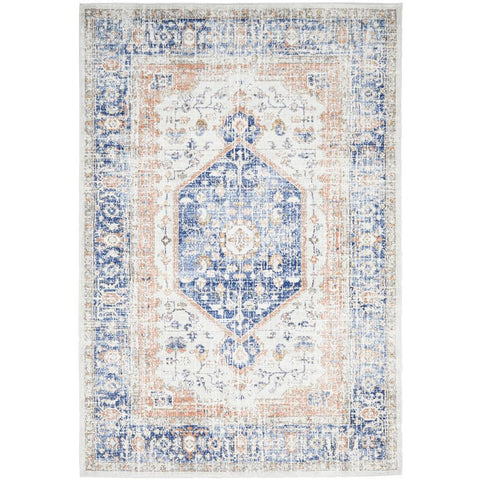 Bergen 1433 Ocean Blue Transitional Medallion Patterned Rug - Rugs Of Beauty - 1