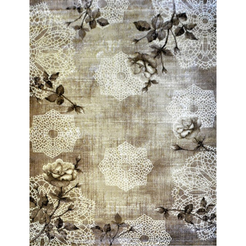 Brown Leaf Pattern Designer Rug - Rugs Of Beauty - 1