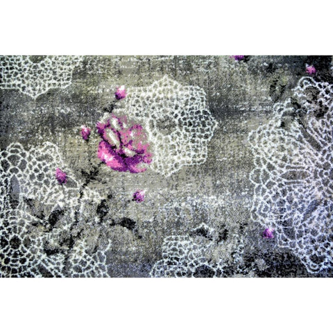 Dark Grey & Lilac 1247 Floral Pattern Designer Rug - Rugs Of Beauty - 1