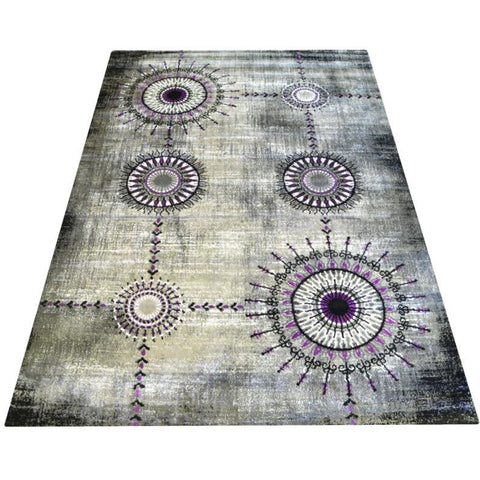 Dark Grey & Lilac Pattern Designer Rug - Rugs Of Beauty - 1