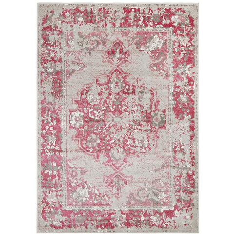 Dellinger 232 Fuchsia Beige Grey Transitional Rug - Rugs Of Beauty - 1