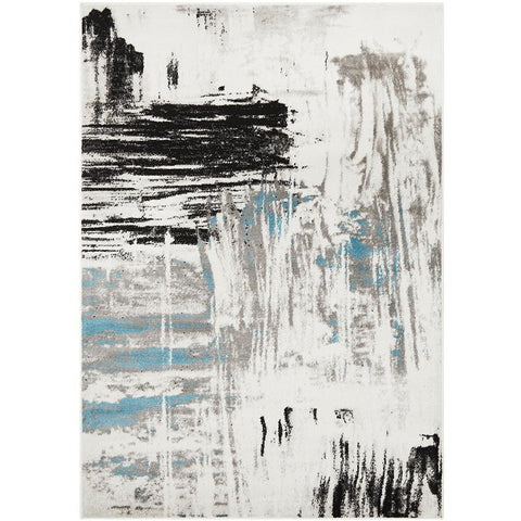 Dellinger 233 Blue Black Beige Grey Abstract Rug - Rugs Of Beauty - 1