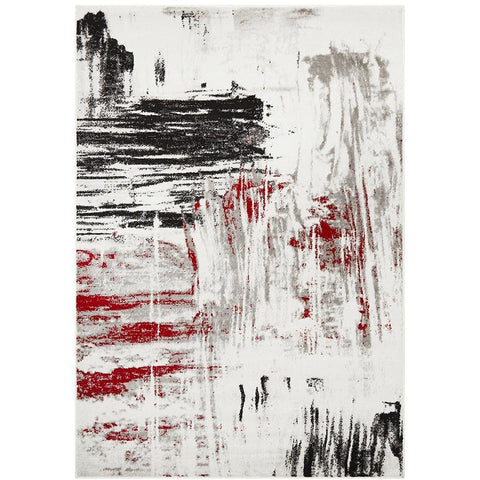 Dellinger 233 Red Beige Black Grey Abstract Rug - Rugs Of Beauty - 1