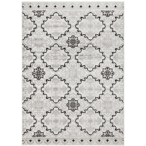 Dellinger 235 Black Beige Grey Modern Floral Abstract Rug - Rugs Of Beauty - 1