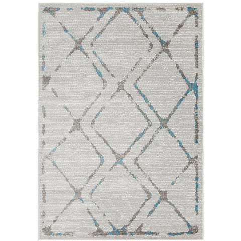 Dellinger 236 Blue Beige Grey Diamond Patterned Rug - Rugs Of Beauty - 1