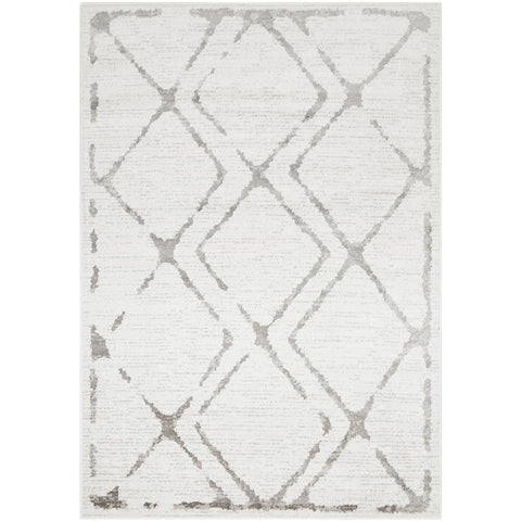 Dellinger 236 Ivory White Grey Modern Diamond Patterned Rug - Rugs Of Beauty - 1