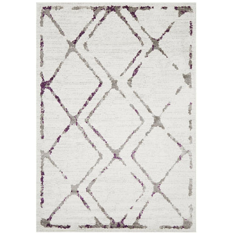 Dellinger 236 Beige Purple Grey Diamond Patterned Rug - Rugs Of Beauty - 1