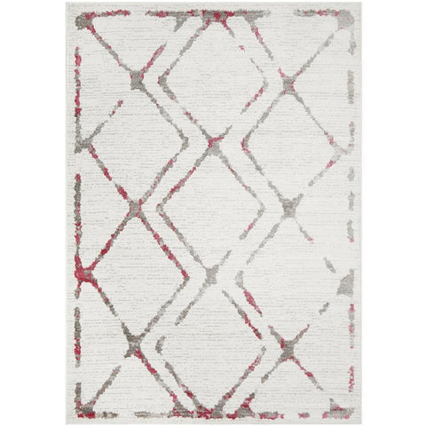 Dellinger 236 Rose Pink Grey Beige Modern Diamond Patterned Rug - Rugs Of Beauty - 1