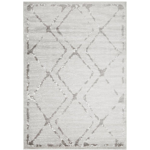 Dellinger 236 Silver Grey Beige Modern Diamond Patterned Rug - Rugs Of Beauty - 1