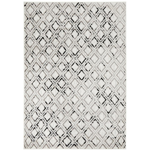 Dellinger 237 Black Beige Grey Modern Diamond Patterned Rug - Rugs Of Beauty - 1