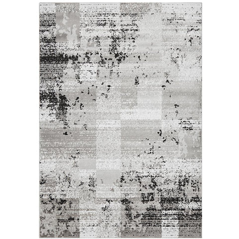 Dellinger 241 Grey Black Beige Modern Abstract Patterned Rug - Rugs Of Beauty - 1