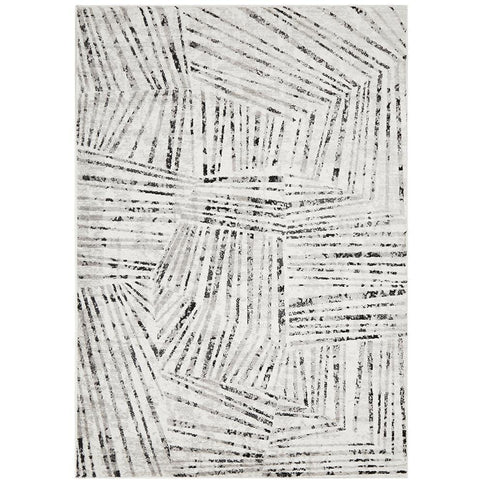 Dellinger 242 Black White Silver Grey Modern Abstract Patterned Rug - Rugs Of Beauty - 1