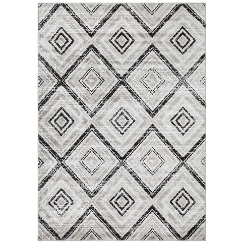 Dellinger 246 Black Beige Grey Diamond Patterned Abstract Rug - Rugs Of Beauty - 1