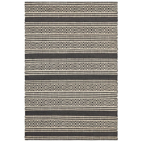 Quivira 476 Charcoal Grey Diamond Striped Patterned Modern Rug - Rugs Of Beauty - 1