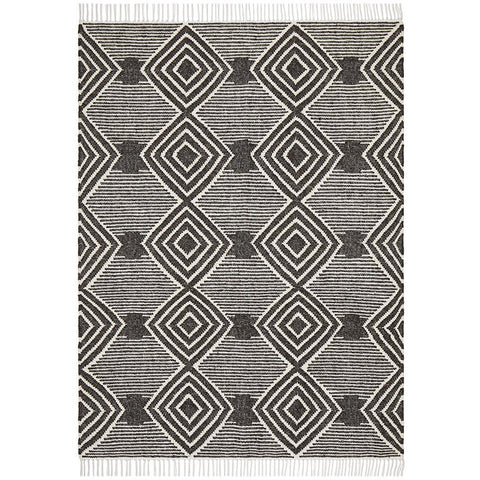 Quivira 484 Charcoal Grey Beige Diamond Patterned Modern Rug - Rugs Of Beauty - 1