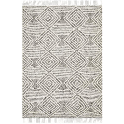 Quivira 484 Light Grey Beige Diamond Patterned Modern Rug - Rugs Of Beauty - 1