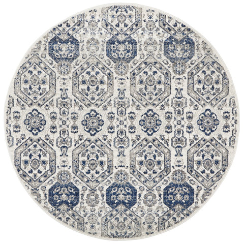Manisa 750 Grey Patterned Transitional Designer Round Rug - Rugs Of Beauty - 1