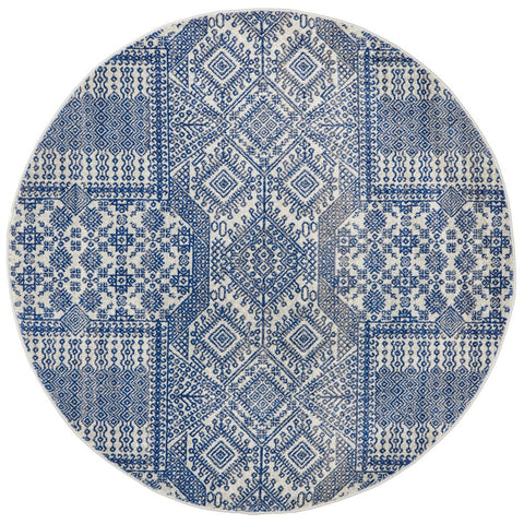 Manisa 751 Navy Blue Patterned Transitional Designer Round Rug - Rugs Of Beauty - 1