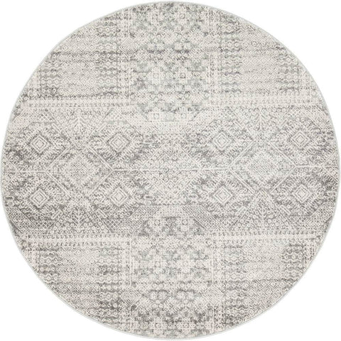 Manisa 751 Silver Grey Patterned Transitional Designer Round Rug - Rugs Of Beauty - 1