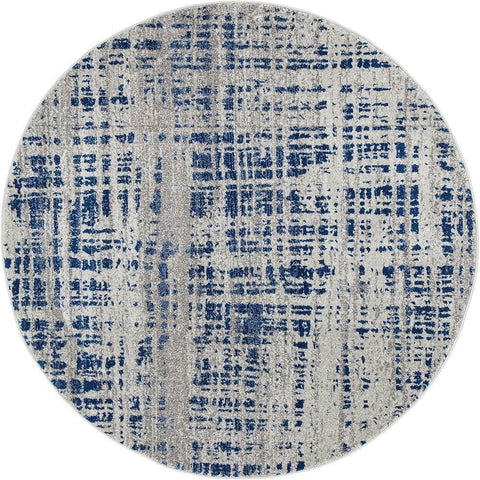 Manisa 752 Navy Blue Abstract Patterned Modern Designer Round Rug - Rugs Of Beauty - 1