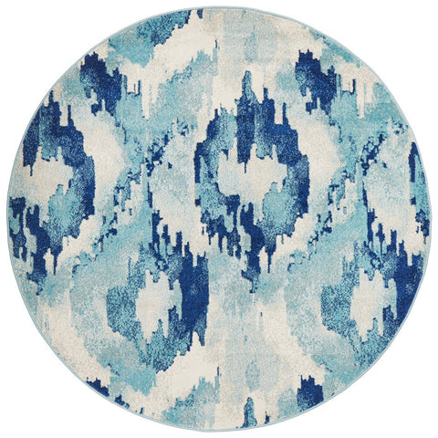 Manisa 753 Navy Blue Watercolour Abstract Patterned Modern Designer Round Rug - Rugs Of Beauty - 1