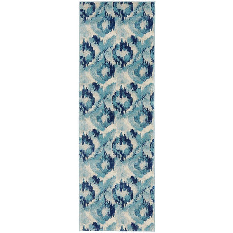 Manisa 753 Navy Blue Watercolour Abstract Patterned Modern Designer Runner Rug - Rugs Of Beauty - 1