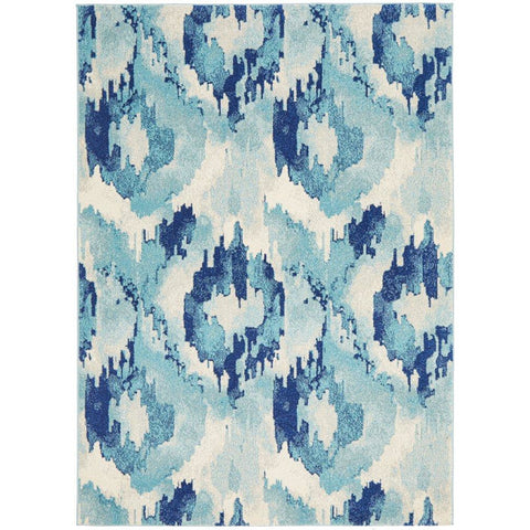 Manisa 753 Navy Blue Watercolour Abstract Patterned Modern Designer Rug - Rugs Of Beauty - 1
