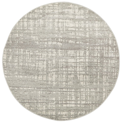 Manisa 754 Silver Grey Abstract Patterned Modern Designer Round Rug - Rugs Of Beauty - 1