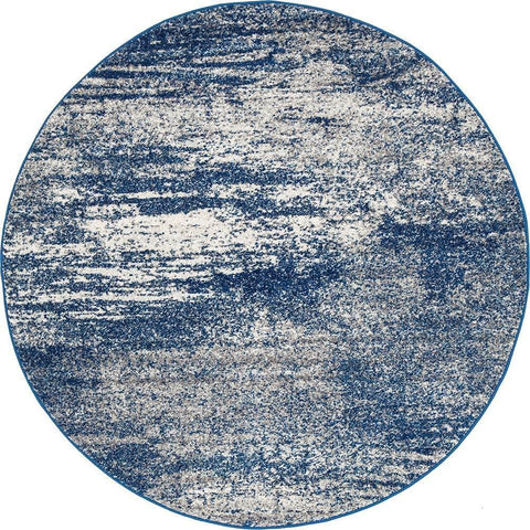 Manisa 755 Blue Abstract Patterned Modern Designer Round Rug - Rugs Of Beauty - 1