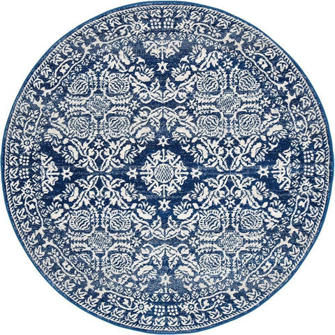 Manisa 758 Navy Blue Patterned Transitional Designer Round Rug - Rugs Of Beauty - 1