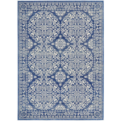 Manisa 758 Navy Blue Patterned Transitional Designer Rug - Rugs Of Beauty - 1