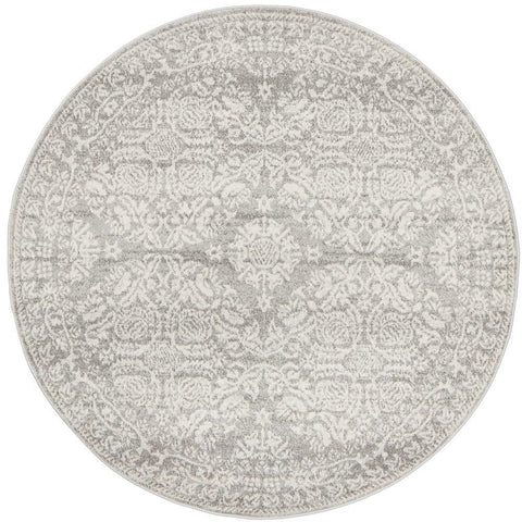 Manisa 758 Silver Grey Patterned Transitional Designer Round Rug - Rugs Of Beauty - 1