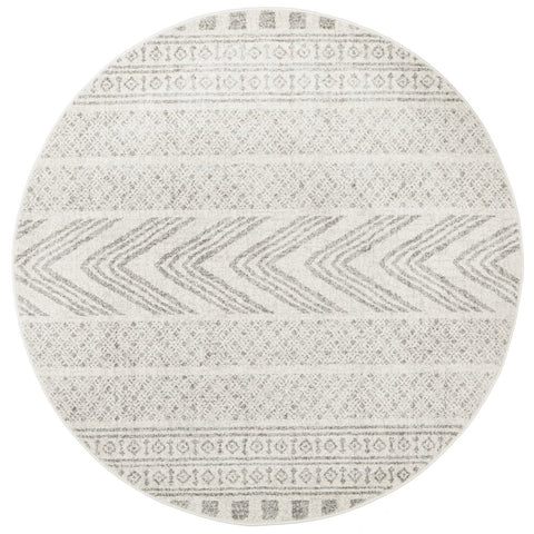 Manisa 759 Grey Patterned Beige Transitional Designer Round Rug - Rugs Of Beauty - 1