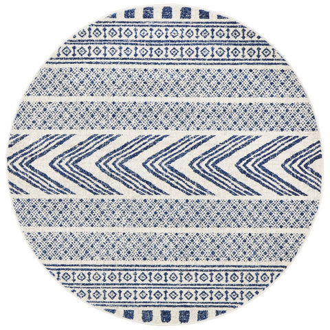 Manisa 759 Navy Blue Patterned Beige Transitional Designer Round Rug - Rugs Of Beauty - 1
