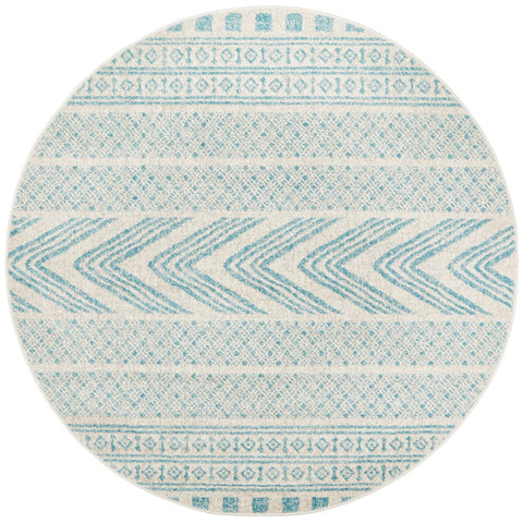 Manisa 759 Sky Blue Patterned Beige Transitional Designer Round Rug - Rugs Of Beauty - 1