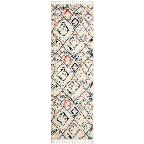 Ankara 3744 Blue Modern Tribal Patterned Hallway Runner Rug - Rugs Of Beauty - 1