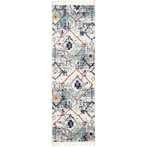 Ankara 3747 Blue Modern Tribal Patterned Hallway Runner Rug - Rugs Of Beauty - 1