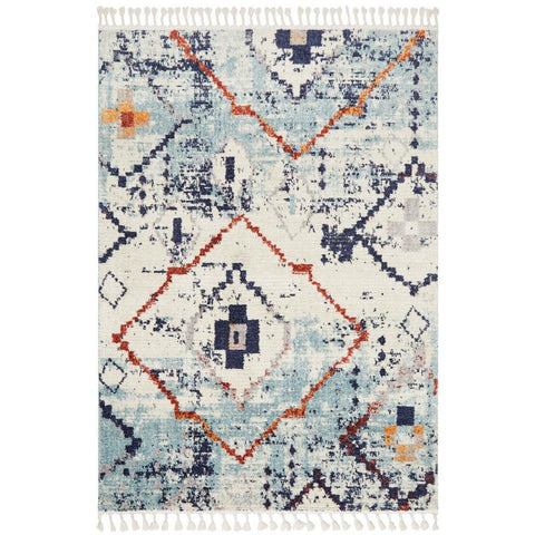 Ankara 3747 Blue Modern Tribal Patterned Rug - Rugs Of Beauty - 1