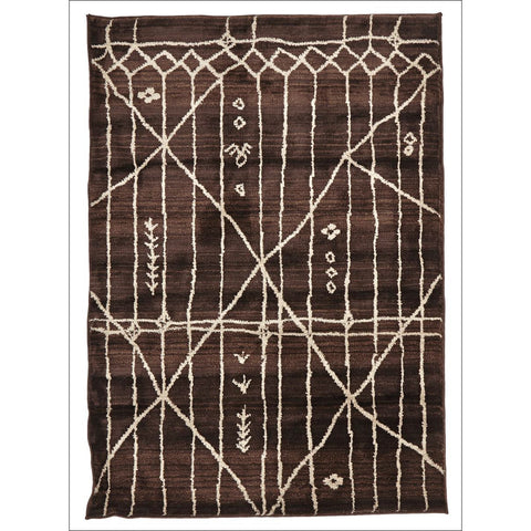Morrocan Tribal Design Rug Chocolate - Rugs Of Beauty