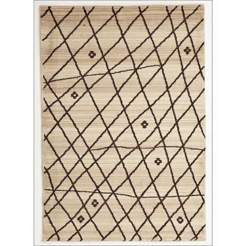 Zaida 454 Brown Cross Hatch Pattern Beige Cream Moroccan Rug - Rugs Of Beauty - 1