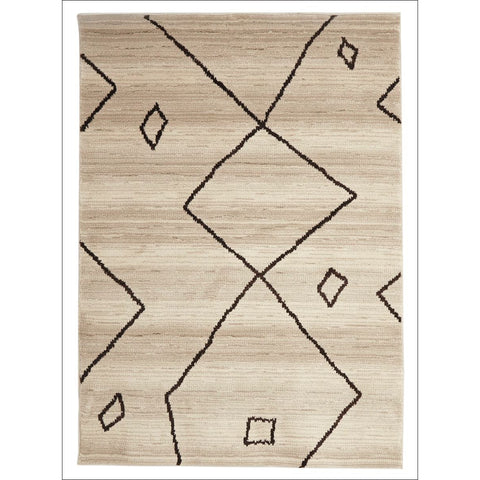 Zaida 464 Brown Cream Beige Abstract Pattern Moroccan Rug - Rugs Of Beauty - 1
