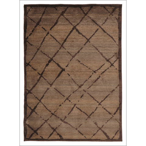 Zaida 457 Brown Cross Hatch Moroccan Rug - Rugs Of Beauty - 1