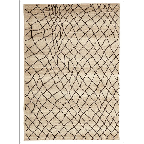 Zaida 461 Brown Cream Beige Trellis Web Pattern Moroccan Rug - Rugs Of Beauty - 1