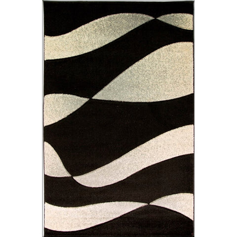 Orleans Organza Abstract Rug - Silver/Black - Rugs Of Beauty