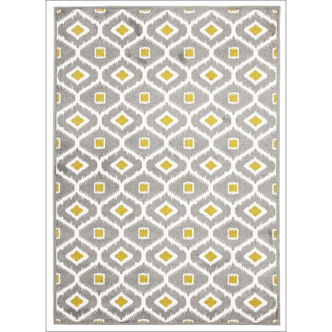 Cozumel 552 Indoor Outdoor Grey Trellis Gold Dot Patterned Rug - Rugs Of Beauty - 1