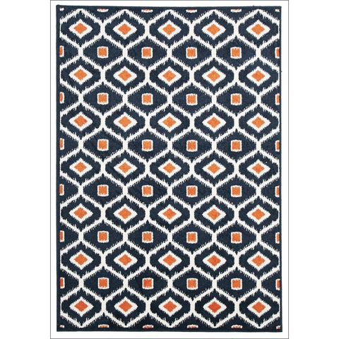 Cozumel 552 Indoor Outdoor Navy Trellis Orange Dot Patterned Rug - Rugs Of Beauty - 1