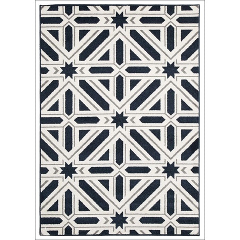 Cozumel 563 Navy Blue Stars and Stripes Indoor Outdoor Geometric Patterned Rug - Rugs Of Beauty - 1