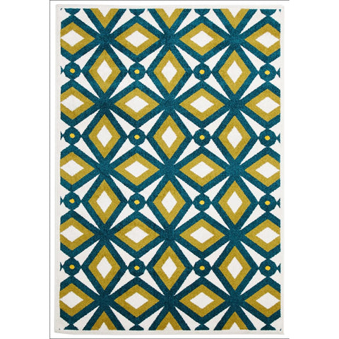 Cozumel 560 Indoor Outdoor Blue Gold Diamond Patterned Rug - Rugs Of Beauty - 1
