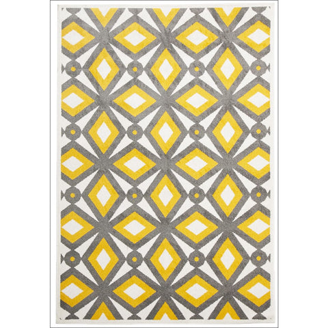 Cozumel 560 Indoor Outdoor Grey Yellow Diamond Patterned Rug - Rugs Of Beauty - 1